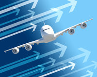 Front view of jet with arrows. On abstract blue background Stock Photography