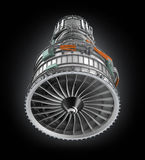 Front view of jet fan engine isolated on black background Stock Photo