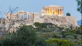 Front view time lapse of acropolis noon to night. Front view 4k time lapse of acropolis noon to night stock footage