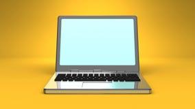 Front View Of Laptop On-Gelb-Hintergrund lizenzfreie abbildung