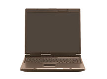 Front  view on laptop (isolated). Front view of laptop on white background Royalty Free Stock Photo