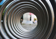 Front view of large metal spiral Stock Image