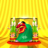 Front View Of Lion Dance On Golden Text Space Royalty Free Stock Photography