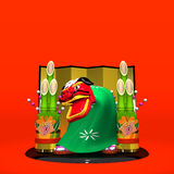 Front View Of Lion Dance On Red Text Space Royalty Free Stock Photos