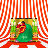 Front View Of Lion Dance On Striped Pattern Text Space Royalty Free Stock Photo