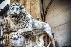 Front view of a Lion in Loggia dei Lanzi in Florence Stock Photography