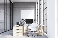 Front view of loft office, wooden furniture Stock Photos
