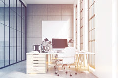 Front view of loft office, wooden furniture, toned Stock Images