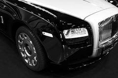 Front view of a Luxury car Rolls-Royce Phantom. Black and white. Sankt-Petersburg, Russia, July 21 2017: Front view of a Luxury car Rolls-Royce Phantom. Black Royalty Free Stock Photo