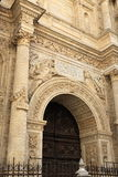 The front view of the main entrance of the cathedral of Granada, Spain Royalty Free Stock Photo