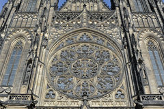 Front view of the main entrance to the St. Vitus cathedral in Prague Castle in Prague Stock Images