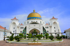 Front view of Malacca Straits Mosque. Malacca,Malaysia - June 15, 2014 : Malacca Straits Mosque is also known as Malacca's floating mosque as it is built on royalty free stock photo