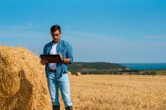Front view of a male agronomist farmer with a tablet in blue jeans and a shirt and a white t-shirt in a field with haystacks royalty free stock photography