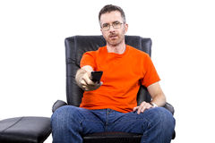 Front View of Man Watching TV Stock Photo