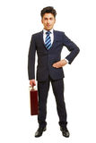 Front view of manager with briefcase Royalty Free Stock Images