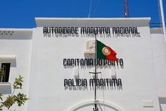 Maritime Police buidling, Portimao. Front view of the Maritime police building, Portimao, Algarve, Portugal, Europe Stock Images