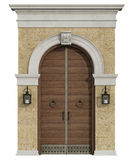 Front view of a medieval portal with wooden door Royalty Free Stock Photos