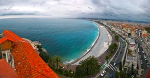 Front view of the Mediterranean sea, bay  Angels, Nice, France Stock Images