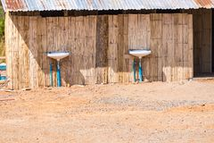 Front view of men& x27;s washroom in campsite.Thailand. Hut wooden travel traditional tourism nature construction background architecture area bathroom building stock image