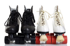 Front view men and women quad roller skates Stock Image