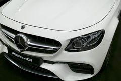 Front view of a Mercedes Benz E 63s AMG. Car exterior details. Royalty Free Stock Photography