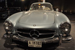 Front view of Mercedes Benz 1955 model 300 SL. Mercedes Gullwing, Silver Grey sporting model 300 SL from 1955 , winner of Dubai Downtown Classic Car Show 2010 Stock Image