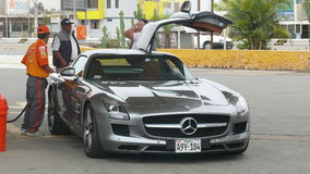 Front view of a Mercedes Benz SLS AMG 6.3 Stock Photo