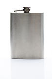 Front view of metal flask. Closeup. Steel hipflask for alcohol Stock Images