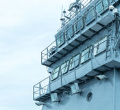Front view of military ship bridge. Control room Royalty Free Stock Photos