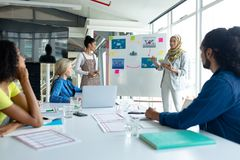 Businesswoman in hijab giving presentation on flip chart during meeting in a modern office. Front view of Mixed-race businesswoman in hijab giving presentation royalty free stock photos