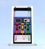 Front view of modern fuel dispenser isolated on light blue background Stock Photography