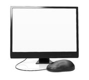 Front view of monitor with blank screen and computer mouse Royalty Free Stock Photo