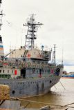 Front view of moored big ship in Russia Royalty Free Stock Image