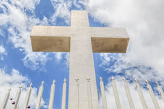 Front View of Mt. Helix Cross with Fence Stock Photography