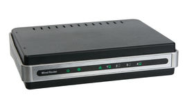 Front view of network wired router Stock Images