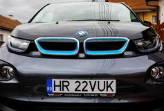 Front view of the new BMW i3 ecofriendly car. Miercurea Ciuc, Romania- 12 April 2019: Front view of the new BMW i3 ecofriendly car stock image