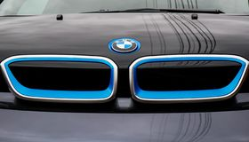 Front view of the new BMW i3 ecofriendly car. Miercurea Ciuc, Romania- 12 April 2019: Front view of the new BMW i3 ecofriendly car stock photo
