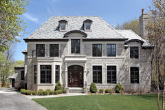 Front view of new construction home royalty free stock photo