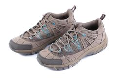 Front view of new sport shoes. Stock Photo