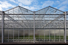 Front view of a newly build greenhouse Stock Images