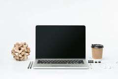 The front view of notebook and cup of coffee. Inspiration and mock-up concept Royalty Free Stock Image
