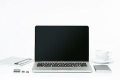 The front view of notebook and cup of coffee. Inspiration and mock-up concept Royalty Free Stock Photos