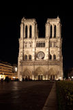 Front view of Notre Dame de Paris. Notre Dame de Paris (France) Cathedral illuminated by night, front view Stock Photography