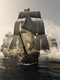 Front View Of A Pirate Ship Fleet Piercing Through The Fog. Royalty Free Stock Photography