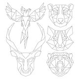 Front View Of Animal Head Triangular Icon Set Royalty Free Stock Photography