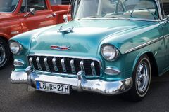 Free Front View Of Blue Vintage Chevrolet Convertible Parked In The Street Royalty Free Stock Images - 174950739