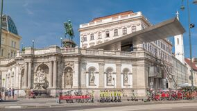 Free Front View Of Equestrian Statue Of Archduke Albert In Front Of The Albertina Museum Timelapse Hyperlapse In Vienna Stock Photo - 217531860