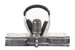 Front View Of Headphones, Vintage Microphone Stock Photos