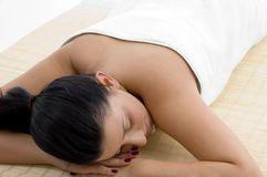 Front View Of Relaxing Young Woman Stock Image