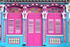 Free Front View Of Singapore Straits Chinese Or Peranakan Shop House Exterior Stock Photo - 202676920